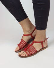 Red Gladiator Leather Sandals