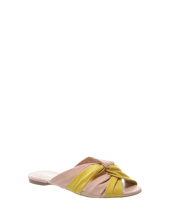 Yellow & Nude Knot Leather Sandals