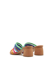Multi-Coloured Strappy Mules