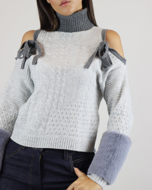 IZAAK AZANEI | BLAIZ | Grey Cold Shoulder Faux Fur Cuff Cable Knit Sweater Jumper