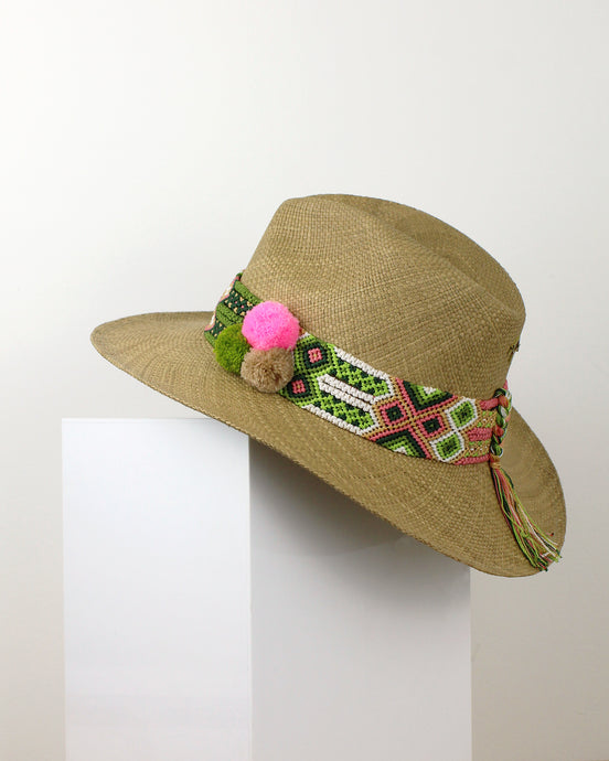 Lime, Pink & Beige Cocoa Panama Hat