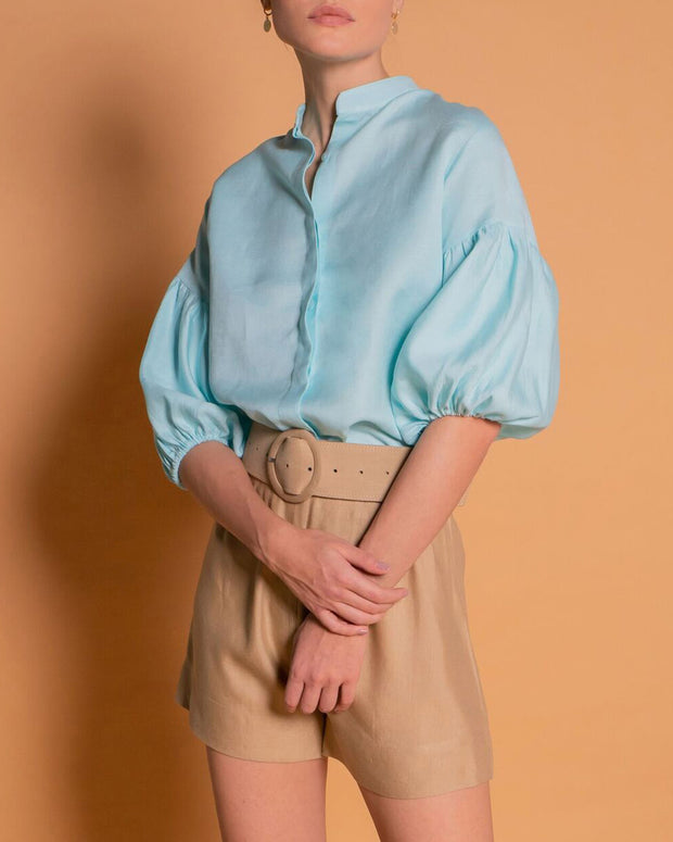 Sky Blue Puff Sleeves Blouse