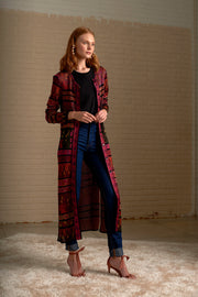 Tapestry Print Long Cardigan