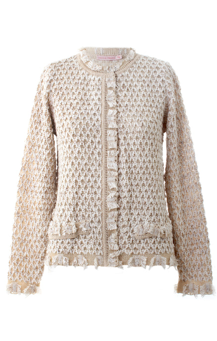 Short Nude Metallic Knit Cardigan
