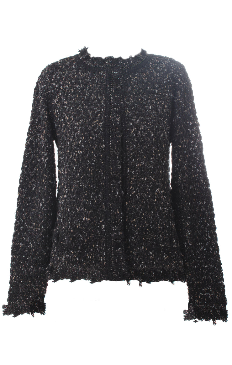 Short Black Metallic Knit Cardigan