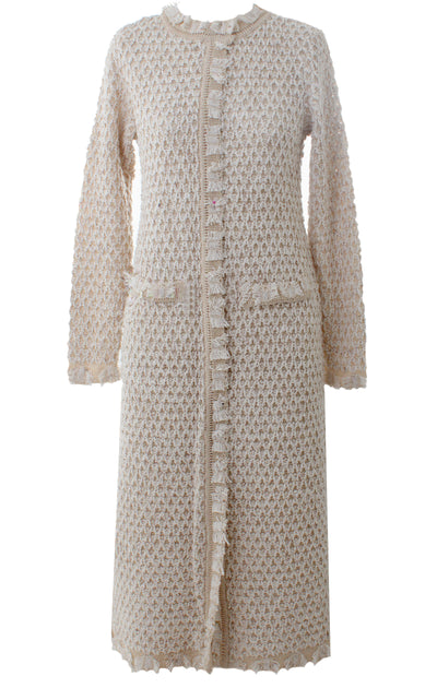 Long Nude Metallic Knit Cardigan