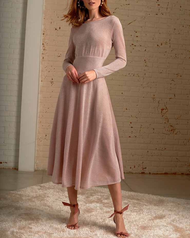 Sparkly Pink Long Sleeve Midi Dress