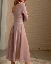 CECILIA PRADO | BLAIZ | Sparkly Pink Long Sleeve Midi Dress