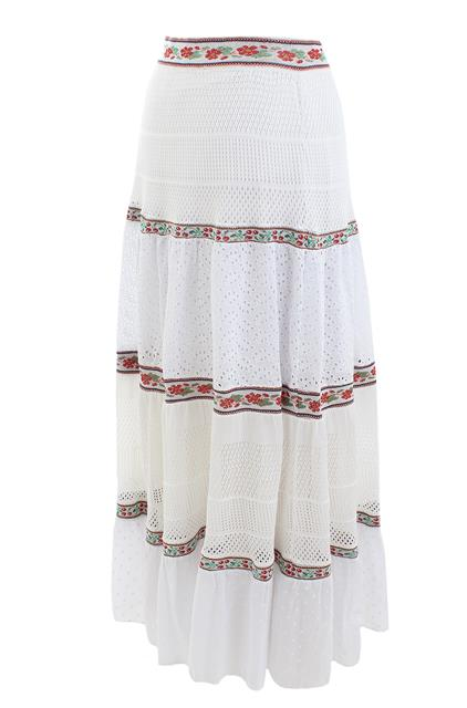 White Tiered Maxi Skirt