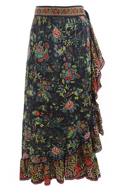 Black Floral Wrap Skirt