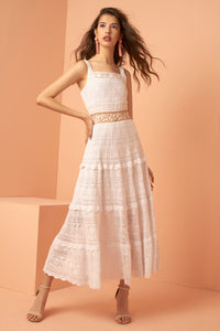 White Crochet Knit Midi Dress