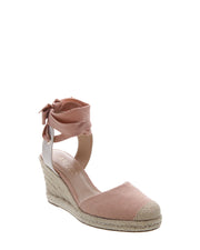 AREZZO | BLAIZ | Light Pink Dusty Pink Espadrille Wedges Heels Natural Raffia
