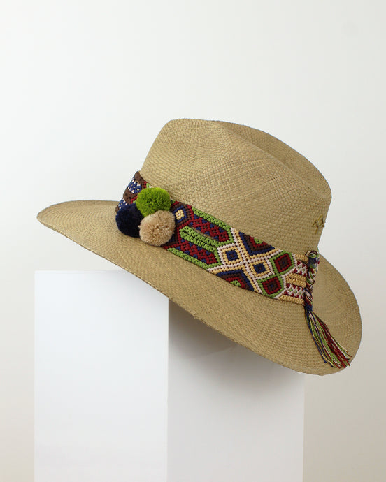 Beige, Navy & Lime Cocoa Panama Hat