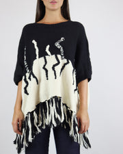 Black & Cream Abstract Jumper Poncho