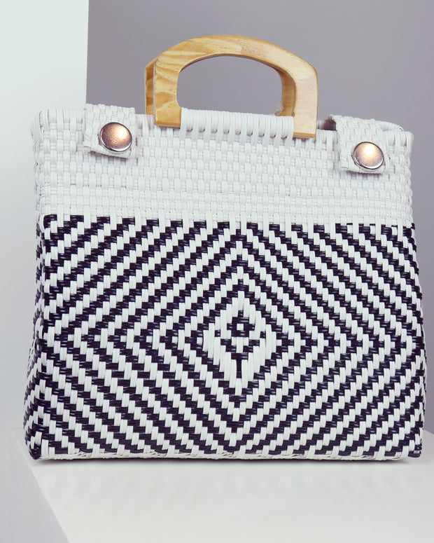 César Wooden Handle Woven Tote