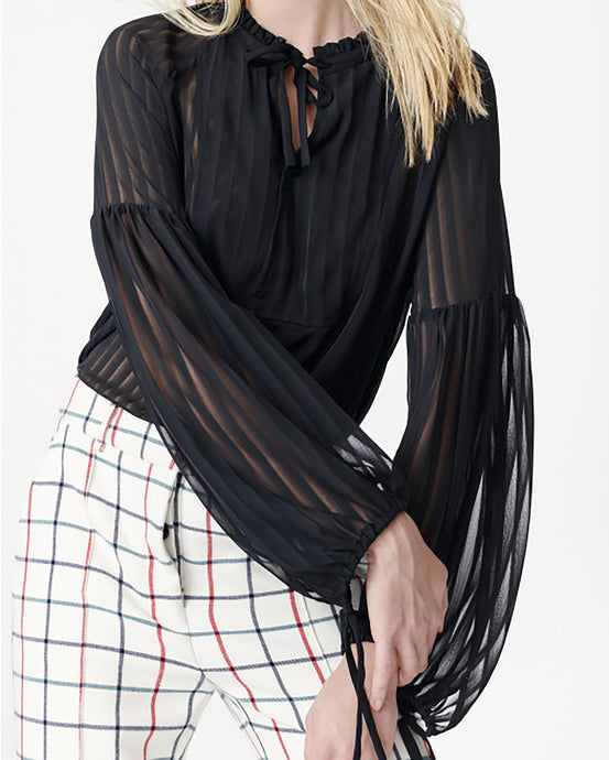 Black Sheer Striped Blouse
