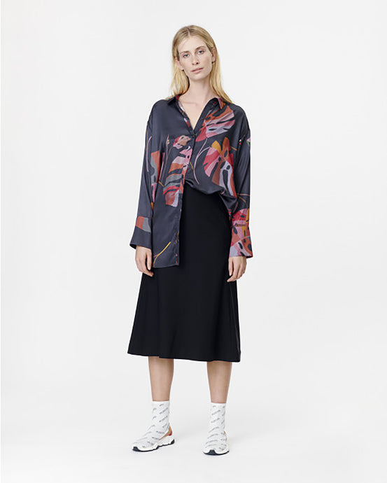 Black Satin Tropical Leaf Shirt