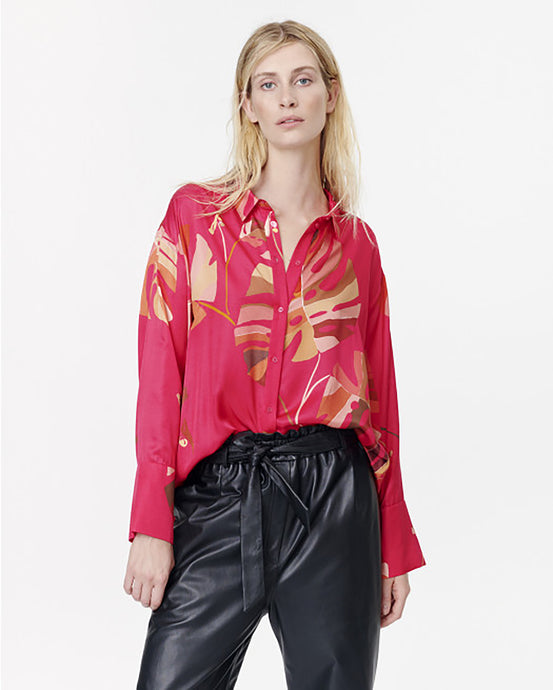 Red Satin Tropical Leaf Shirt