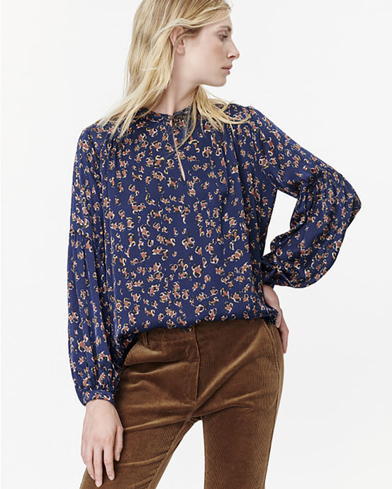 Navy Abstract Leopard Blouse