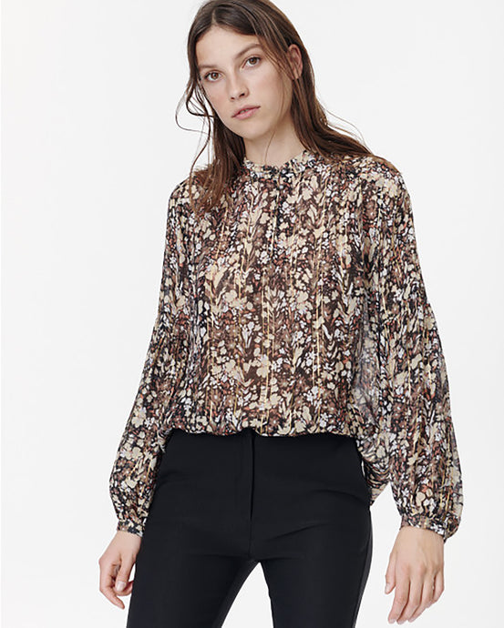Black Floral Sheer Blouse