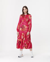 Load image into Gallery viewer, Red Satin Tropical Leaf Wrap Dress
