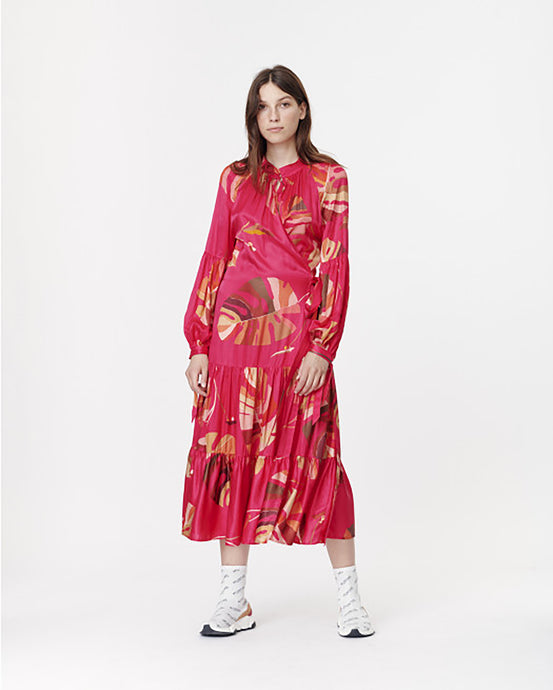 Red Satin Tropical Leaf Wrap Dress