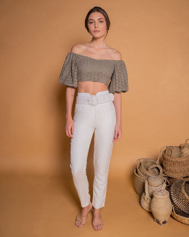 Off-The-Shoulders Greige Crop Top