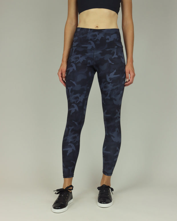 Blue Camouflage High-Waisted Leggings