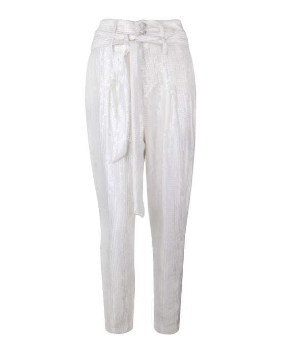 White Sequin High Waisted Pants