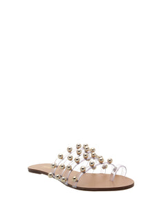 Clear Strap Gold Stud Sandals