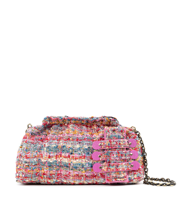 Pink Tweed Clam Minima Pouch Bag