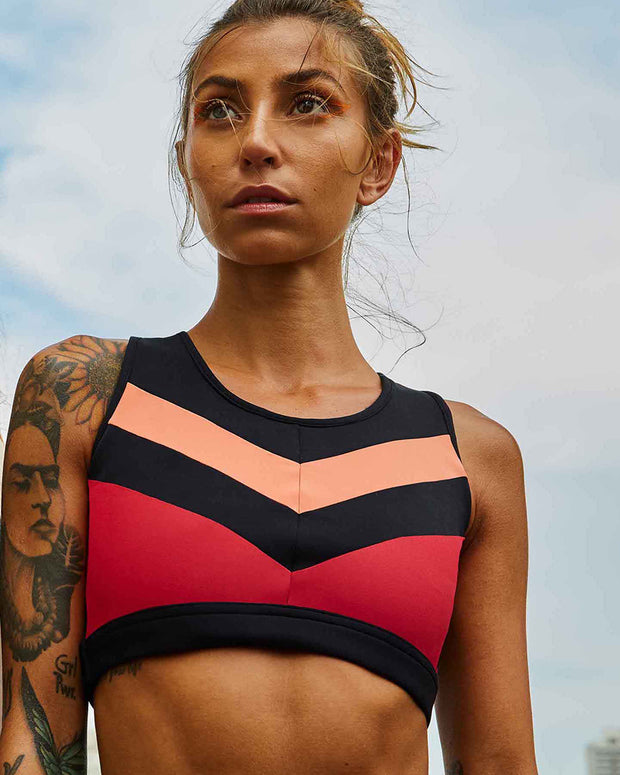ALEKTA | BLAIZ | Red & Coral Stripe Sports Bra