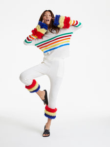 Rainbow Stripe Cuff Knit Sweater