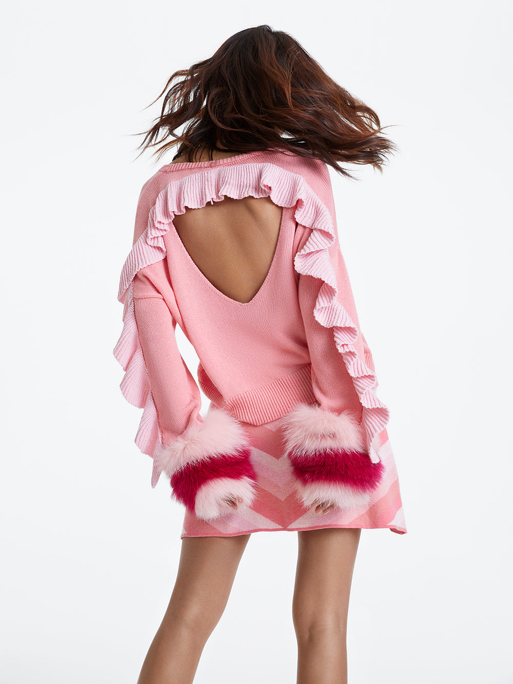 Pink Ruffle Backless Knit Sweater