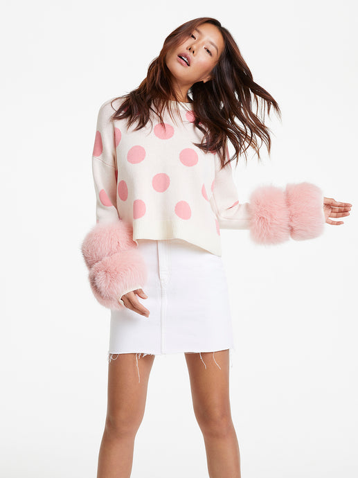 Pink Polka Dot Cuff Knit Sweater