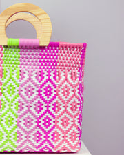 Lila Wooden Handle Woven Tote