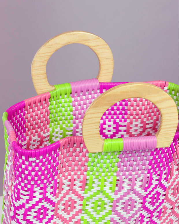 OAXACA | BLAIZ | Lila Pink Multicolour Wooden Handle Woven Tote