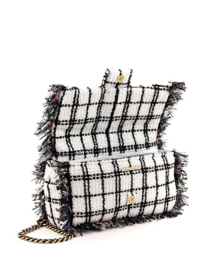 Black & White Checked Tweed San Francisco Bag