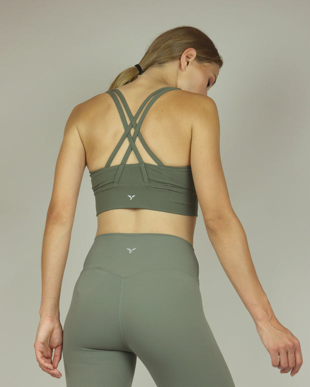 Khaki Green Sports Bra