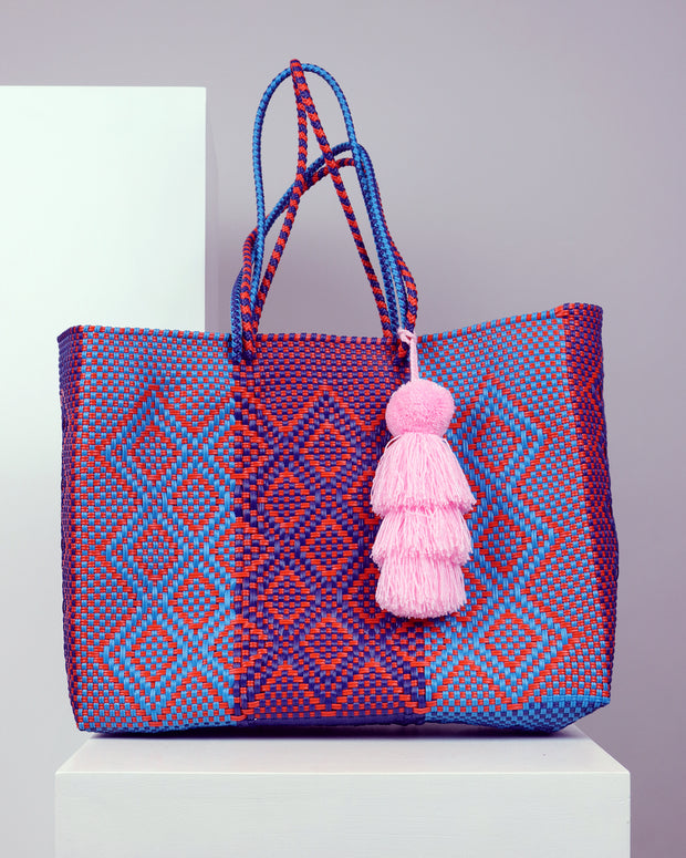 OAXACA | BLAIZ | Engracia Purple, Blue & Orange Large Woven Tote Bag