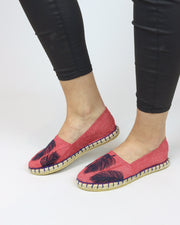 ANAS | BLAIZ | Red Denim Feather Espadrilles