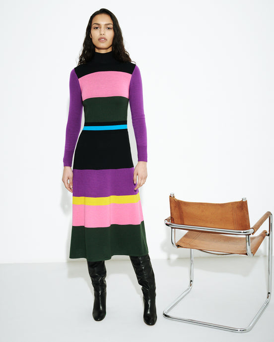 Colour Block Knitted Dress