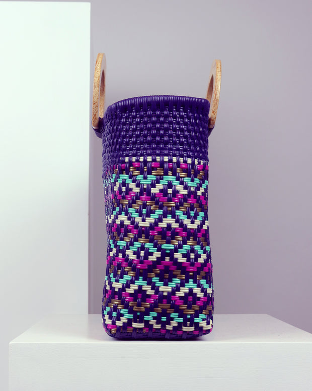 OAXACA | BLAIZ | Luana Purple Wooden Handle Woven Tote