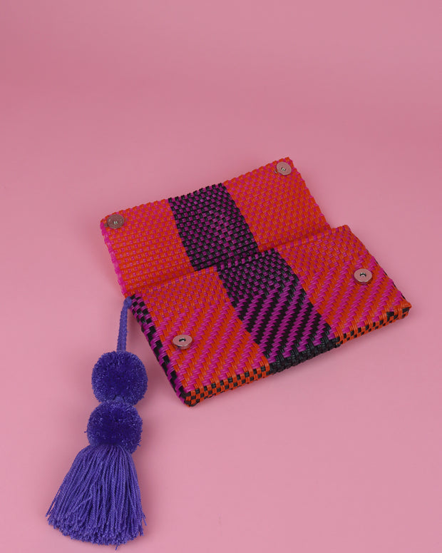 Orange, Magenta & Black Pom Pom Clutch