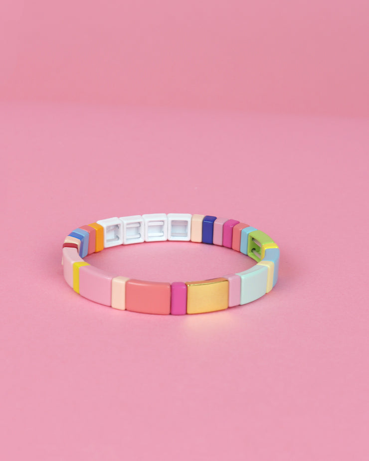 227 | RAINBOW ENAMEL TILE LOVE BRACELET