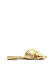 SCHUTZ | BLAIZ | Gold Metallic Slip On Flats Criss Cross