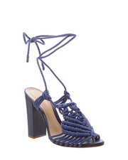 Blue High Heel Macrame Sandals