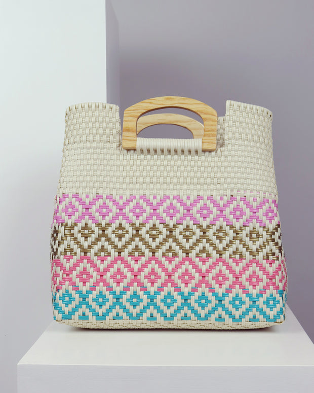 Catalina Wooden Handle Woven Tote