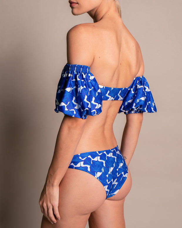 Royal Blue Puff Sleeves Bikini Top