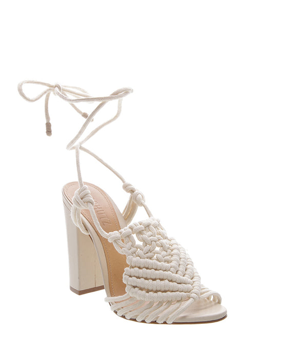 White High Heel Macrame Sandals